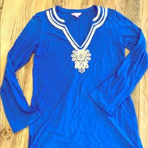 Lilly Pulitzer royal blue and gold cotton tunic.